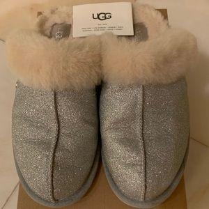 UGG Silver Sparkle Scuffette Size  9